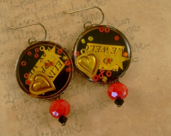 Buttoned Up - Vintage Glass Paperweight Buttons Hearts Stars Text Red and Black Recycled Repurposed Jewelry Earrings