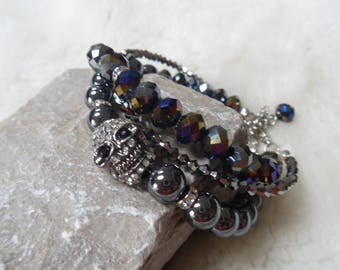 skull crystal hematite gemstone beaded bracelet set