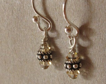 fatdog Earrings - EB506 Sterling Silver Bead and Swarovski Golden Shadow Crystal