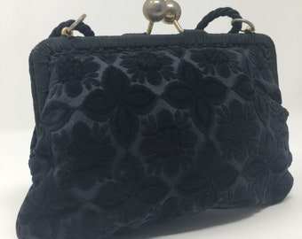 Brocade Fabric Purse Handbag Vintage Retro Shabby Chic Black Velvet