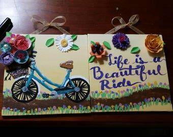 Bike art, life is beautiful art, paper flower art, spring art, mothers day art, summer art, flower basket, mixed media art, small