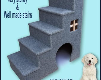 Dog steps. Pet furniture, Dogs furniture. 30 inches tall wooden dog steps, pet stairs. Dogs steps, Doggy stairs, Pet furniture, Puppy steps.