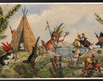 Cowboys and Indians + Molly Brett + Vintage Cats Postcard