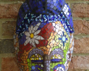 Stained Glass Mosaic Mask - She Dreams of Flowers Wall Art