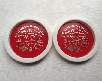 Set of 2 Vintage Las Vegas Stackable Coasters Depicting all the classic Vegas Hotels