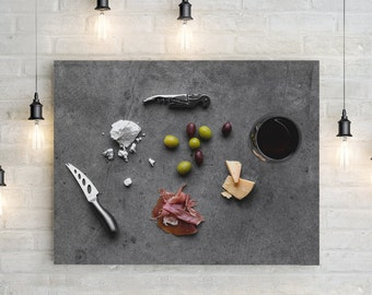 charcuterie // food photography print // canvas print // kitchen wall art // dining room wall art // rustic wall art // cheese board