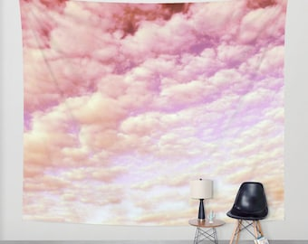 Cotton Candy Sky - Wall Tapestry, modern, home decor, nature, fine art, photography, inspirational, dreamy, cloud, wedding, dorm, office