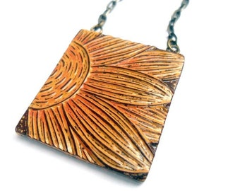 Sunflower Necklace, Full Potential, Yellow and Orange, Sunflower Jewelry, Sunflower Pendant