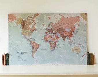 Executive World Map Canvas Print - wall map, gift, gift for him, gift for her, world wall map, free shipping, map, home decor, executive map