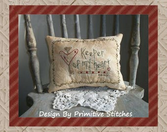 Keeper Of My Heart--Primitive Stitchery E-PATTERN-by Primitive Stitches-Instant Download