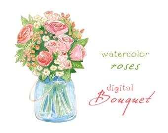 Digital Clipart, Watercolor Flowers, Rose Bouquet, Wedding Bouquet