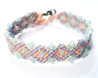 Pastel Beaded Friendship Bracelet | Embellished Woven Bracelet