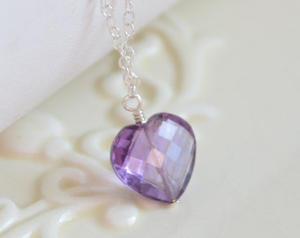Valentines Day Necklace, Amethyst Gemstone,  Heart Shaped Pendant, February Birthstone Jewelry, Sterling Silver, Free Shipping