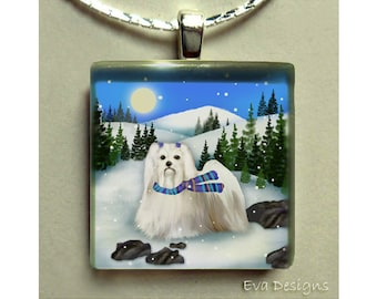 MALTESE DOG mountain sun necklace jewelry pet art gift 1 inch square glass tile pendant with chain