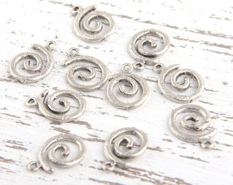 Matte Silver Round Swirl Charms, Round Spiral Charms, 10 pcs // SCh-121