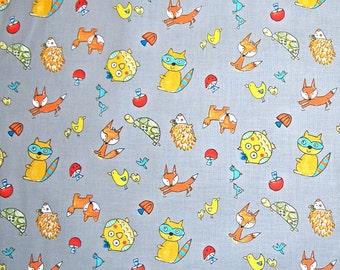 STORE CLOSING SALE - Free Spirit, Dena Designs, Fox Playground, Animal Toss, Grey, 100% Cotton Quilt Fabric, Quilting Fabric