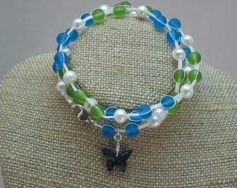 Macrame Paua Abalone Shell Butterfly Pearl Wrap Bracelet