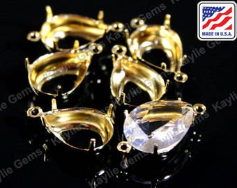 14x10 Pear Tear Drop Prong Setting Pure 24K Gold Plated Open Back 1 Ring / 2 Ring Made In the USA -12pcs