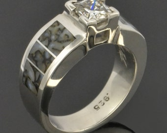 Dinosaur Bone Engagement Ring with White Sapphire in Sterling Silver