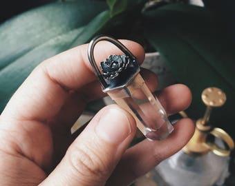 Succulent and Clear Quartz - Silver Necklace