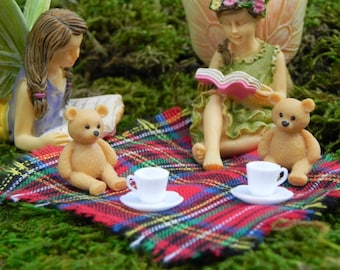 Fairy Garden Teddy Bears Picnic, micro mini bears tea cups saucers, picnic blanket, reading fairy, fairy garden kit accessories teddy bear