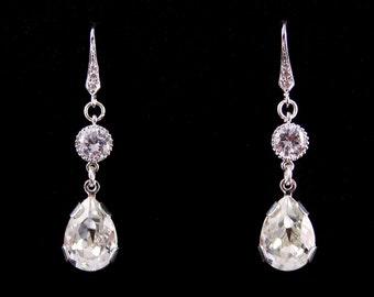 Wedding Earrings, Bridal Jewelry, Crystal Long Teardrop Bridal Earrings