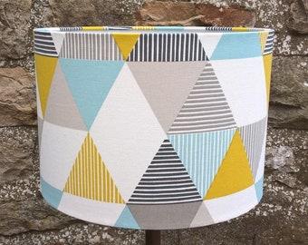Geometric Print Drum Lamp Shade. Lampshade. Light shade. Room decor. Lighting. Contemporary. White.