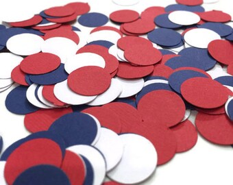 Patriotic Confetti, Red White and Navy Circle Confetti, Nautical party, baby boy shower, 4th of July decor, independance day, sailor party