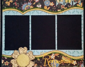 Premade 12 x 12 Layout Scrapbook Page Handmade Remember