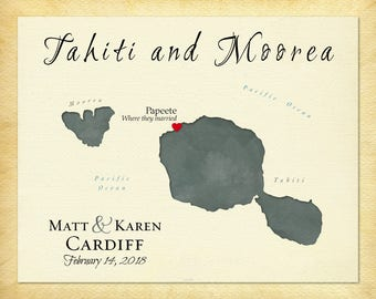Custom Map of Tahiti, Tahiti Map Art, Personalized Wedding Gift Idea, Anniversary Gift, Gift for Couple, Present for Spouse, Travel Gift