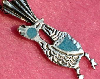 Estate Vintage Turquoise Necklace Road RunneR Modernist Mid Century Native American Style Boho Chic Jewelry Bird Southwestern Pendant Stones