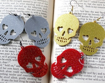 Acrylic Glitter Skull Earrings in Silver Red or Gold - Halloween Psychobilly Glitter Goth