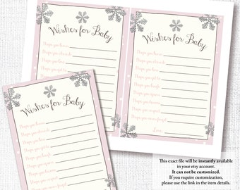 BABY IT'S COLD outside pink Wishes For Baby shower game wishes for baby advice card winter shower diy printable instant download digital