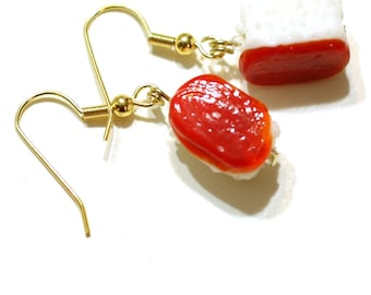Red Sushi Glass Lampwork Bead Earring - Red Fish and Rice Sushi Jewelry