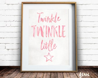 Twinkle Twinkle Little Star, Nursery Art, Twinkle Twinkle Little Star Print, Childrens Art, Pink, Girl, Printable Wall Art, Instant Download