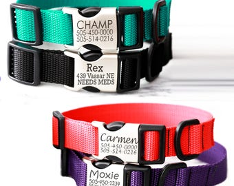 MG2 Metal Buckle Poly Webbing Personalized Dog Collar with Laser Engraved Buckle with your pet's ID NAME & NUMBER * Red Black Green Purple *