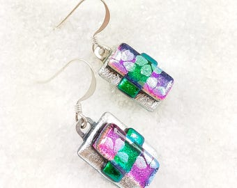 Dichroic earrings, fused glass jewelry, modern style jewelry, dichroic jewelry, short style earrings, sakura blossoms, cherry blossoms
