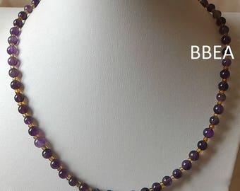 Necklace Amethyst 6 mm and yellow seed beads
