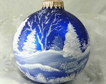 Winter Scene,Blue, Winter Trees and Snow, Royal Blue Bulb, All Around Scene, Christmas Keepsake, Frosty, Free Inscription