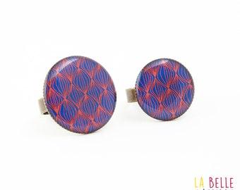 vintage pattern blue and orange resin ring