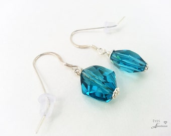 Blue crystal earrings Crystal and sterling silver earrings Swarovski Free shipping Gift for her Something blue earrings for wedding bride