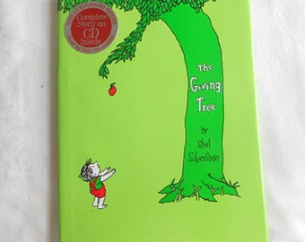 The GIVING TREE Book Read by Shel Silverstein HCDJ 40th Anniversary Ed + Cd, Parable on Love Giving Friendship Life Cycle Kids Lit Like New