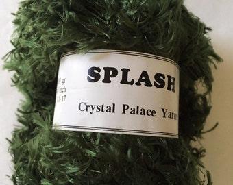 "Crystal Palace Splash #3387 ""Chard"" Green Feather Boa Eyelash Yarn 100 gram 85 Yards"
