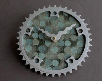 Bicycle Gear Clock - Blue Circles  |  Bike Clock  | Wall Clock | Recycled Bike Parts Clock