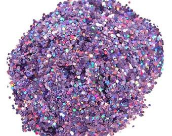 Purple Glitter, Holographic Glitter, SOLVENT RESISTANT, 0.062 Hex, Glitter Nail Art, Glitter Nail Polish, Glitter Crafts, Holo Purple