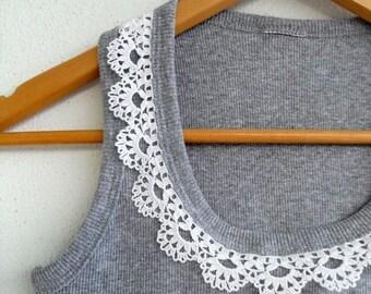 Crocheted Top, Crochet Tshirt, Cotton Shirt,Lace Top, Grey Shirt,Dark Clouds, Spring Fashion