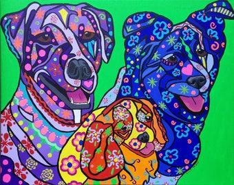 Custom Pet Portraits with three pets