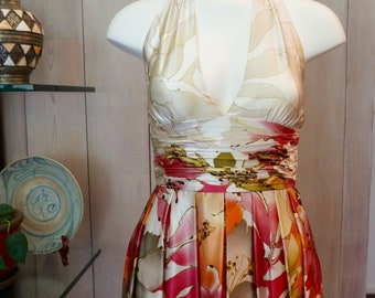 Free Shipping! Vtg ADRIANNA PAPELL Halter Floral Silk Dress- Size 6