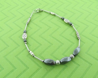 stainless steel and gunmetal hematite anklet. 6.5 - 10.5 inches long