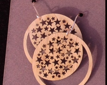Laser-cut Moon and Stars Earrings